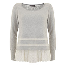 Buy Mint Velvet Lace Hem Top, Silver Grey Online at johnlewis.com
