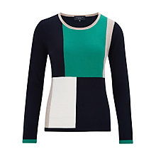 Buy Viyella Petite Pure Merino Colour Block Jumper, Green/Multi Online at johnlewis.com