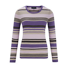 Buy Viyella Stripe Merino Wool Jumper, Purple Online at johnlewis.com