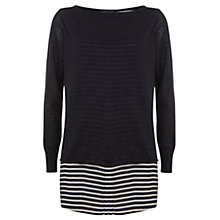 Buy Mint Velvet Stripe Hem Knit, Navy/Ivory Online at johnlewis.com