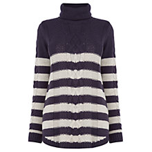 Buy Oasis Stripe Cowl Phoebe Jumper, Navy Online at johnlewis.com