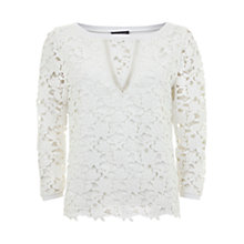 Buy Mint Velvet Lace Front Top, Cream Online at johnlewis.com