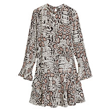 Buy Mango Snake Print Flared Dress, Pink Online at johnlewis.com