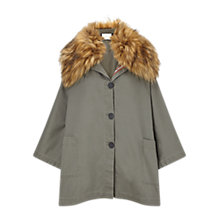 Buy East Faux Fur Cape, Khaki Online at johnlewis.com
