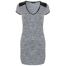 Buy Miss Selfridge PU Trim Tunic Dress, Light Grey Online at johnlewis.com
