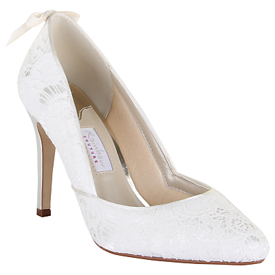 Rainbow Club Agnes High Heeled Stiletto Court Shoe, Ivory Satin/Lace