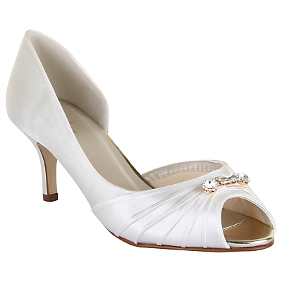 Rainbow Club Arabella Stiletto Heeled Court Shoes, Ivory Satin