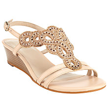 Buy John Lewis Nino Bead Wedge Heeled Sandals, Nude Online at johnlewis.com