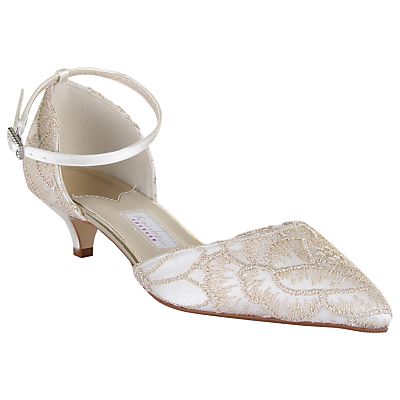 Rainbow Club Albany Kitten Heeled Court Shoes, Ivory Satin