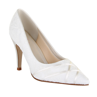 Rainbow Club Ashleigh Stiletto Heeled Court Shoes, Ivory Satin