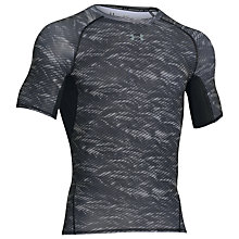 Buy Under Armour HeatGear Armour Printed Compression T-Shirt, Black Online at johnlewis.com
