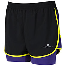 Buy Ronhill Aspiration Twin Shorts, Black/Electric Purple Online at johnlewis.com