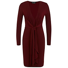 Buy Miss Selfridge Knot Front Dress, Dark Red Online at johnlewis.com
