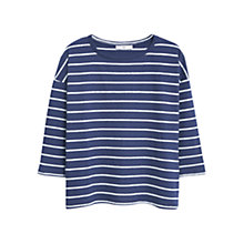 Buy Mango Cotton-Linen Blend Stripe T-Shirt, Navy Online at johnlewis.com