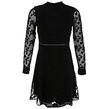 Buy Miss Selfridge Pintuck Lace Dress, Black Online at johnlewis.com