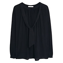 Buy Mango Tie Neck Blouse, Black Online at johnlewis.com