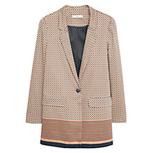 Buy Mango Printed Cotton Blazer, Dark Brown Online at johnlewis.com