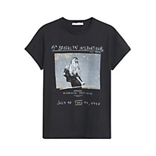 Buy Mango Printed Cotton T-Shirt, Black Online at johnlewis.com