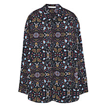 Buy Mango Printed Flowy Shirt, Black Online at johnlewis.com