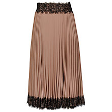 Buy Reiss Andre Pleated Midi Skirt, Mocha Online at johnlewis.com