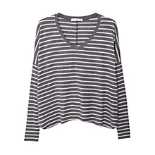 Buy Mango Stripe Patterned Tee, Dark Grey Online at johnlewis.com