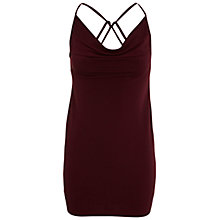 Buy Miss Selfridge Cowl Neck Cami Dress, Burgundy Online at johnlewis.com