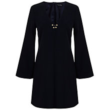 Buy Oasis Fluted Sleeve Dress, Navy Online at johnlewis.com