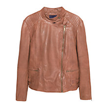 Buy Violeta by Mango Stitched Biker Jacket, Medium Brown Online at johnlewis.com
