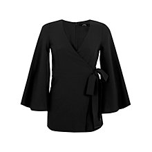 Buy Miss Selfridge Petite Kimono Playsuit, Black Online at johnlewis.com