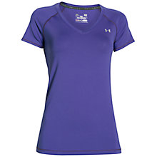 Buy Under Armour Heatgear Short Sleeve Top, Deep Orchid Purple Online at johnlewis.com