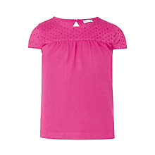 Buy John Lewis Girls' Broderie Yoke T-Shirt, Pink Online at johnlewis.com