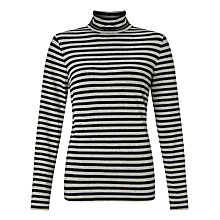 Buy John Lewis Roll Neck Jersey Stripe Top, Black/Grey Online at johnlewis.com