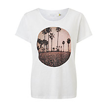 Buy Collection WEEKEND by John Lewis Palm Print Cotton Slub T-Shirt, White Online at johnlewis.com