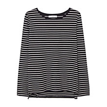 Buy Mango Striped Cotton Long Sleeved T-Shirt, Black Online at johnlewis.com
