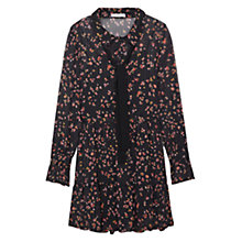 Buy Mango Floral Print Flowy Dress, Black Online at johnlewis.com