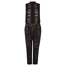 Buy Karen Millen Fluid Lace Jumpsuit, Black Online at johnlewis.com