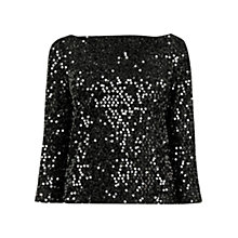 Buy Warehouse Tinsel Sequin Top, Dark Grey Online at johnlewis.com