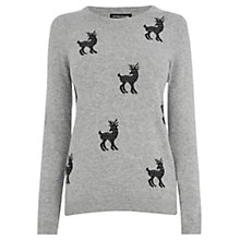 Buy Warehouse Mini Reindeer Jumper, Light Grey Online at johnlewis.com