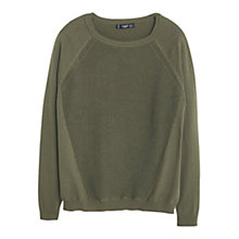 Buy Mango Chunky Knit Cotton Jumper, Khaki Online at johnlewis.com