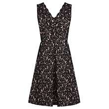 Buy Warehouse Bonded Fit and Flare Dress, Black Online at johnlewis.com