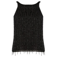 Buy Warehouse Drop Bead Embellished Top, Black Online at johnlewis.com
