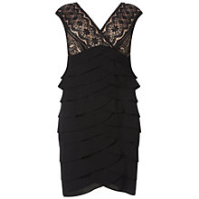 Buy Adrianna Papell Plus Size Lace And Georgette Flutter Cocktail Dress, Black Online at johnlewis.com