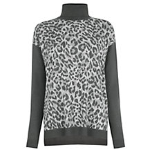 Buy Oasis Smudgy Animal Print Jumper, Grey Online at johnlewis.com