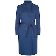 Buy Jaeger Wool Cashmere Funnel Neck Coat, Ocean Blue Online at johnlewis.com