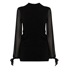 Buy Coast Elizabeth Sheer Sleeve Knitted Top, Black Online at johnlewis.com