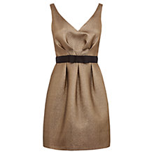 Buy Warehouse Jacquard Prom Dress, Gold Online at johnlewis.com