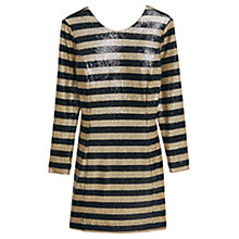 Buy Mango Sequin Contrast Bodice Dress, Black/Gold Online at johnlewis.com