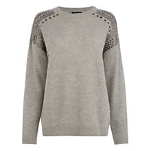 Buy Warehouse Chunky Stud Detail Jumper, Light Grey Online at johnlewis.com