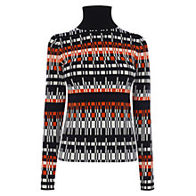 Buy Karen Millen Graphic Knit Roll Neck Jumper, Red/Multi Online at johnlewis.com