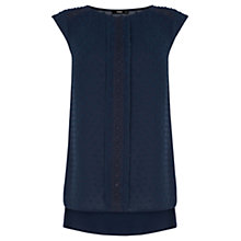 Buy Oasis Roll Sleeve Dobby Top, Navy Online at johnlewis.com